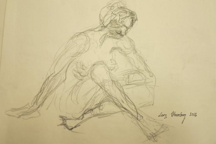 De populære croquis-tegninger er med på udstillingen - Lars Stounberg