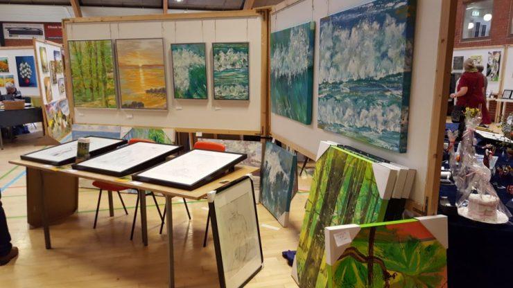 Malerier med natur - solopgang - bøgeskov og hav - kunstner Lars Stounberg