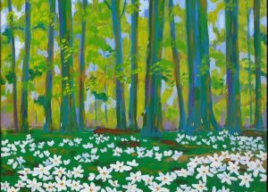 Farverigt maleri Bøgeskov i maj med anemoner 2008 Maleri dis morgenstemning ved sø Billedkunstner Odder Lars Stounberg