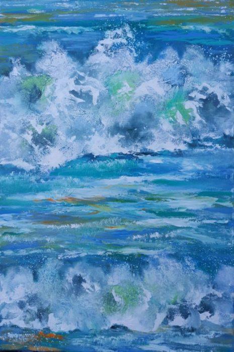 Moderne farverig havmaleri med bølger havet olie 2016 - Kunstner Odder Lars Stounberg - moderne naturalist