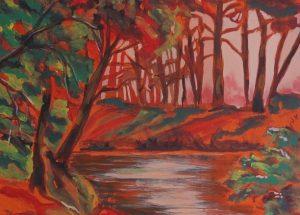 Farverigt maleri natur – Aftenstemning 2015 - Kunstner Odder Lars Stounberg