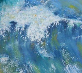 Udstilling i kunstforening - kraftig bølge Vesterhavet - Billedkunstner Lars Stounberg