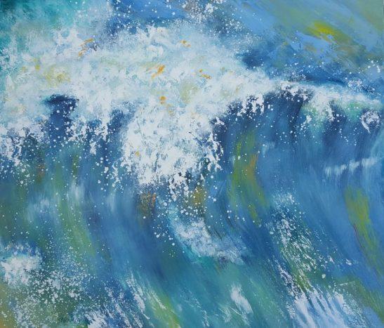 Moderne farverig havmalerier hårdt vejr ved Vesterhavet - Kunstmaler Odder Stounberg