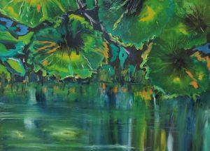 Moderne farverigt maleri stille vand - 2016 - Lars Stounberg