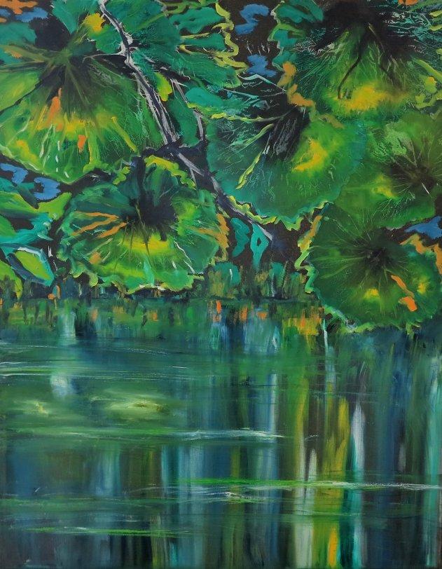 Natur - Moderne farverigt maleri stille vand - 2016 - Billedkunstner Odder Lars Stounberg
