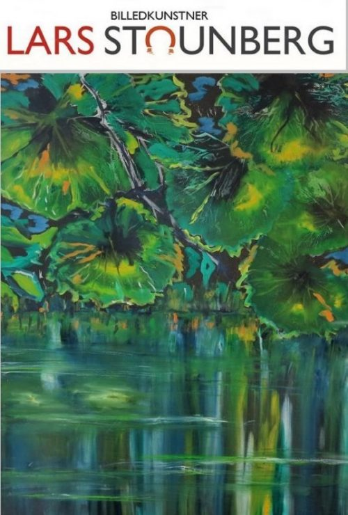 Maleri natur - Farverigt moderne maleri - stille vand sø - malet af billedkunstner Lars Stounberg