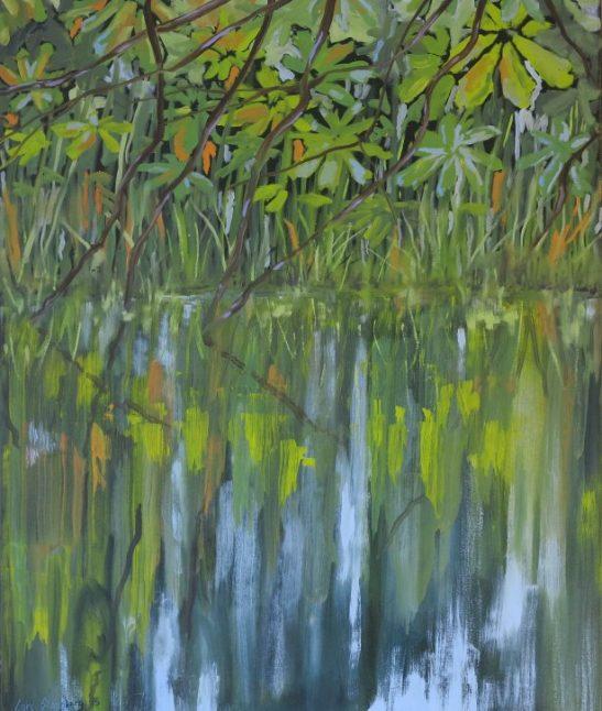 Maleri natur - Farverigt moderne maleri vandspejling sø 2015 - Billedkunstner Odder Lars Stounberg
