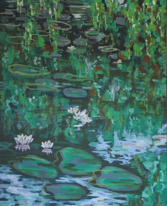 Farverig maleri aakander - vandreflekser - 2015 - Billedkunstner Odder Lars Stounberg