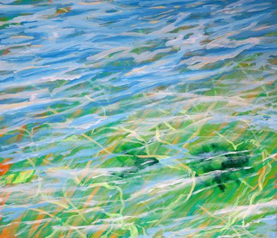 Natur - Havmaleri gennemsigtig havvand - reflekser i vandet - ballehage 70x80 Kunstner Odder Lars Stounberg 2016