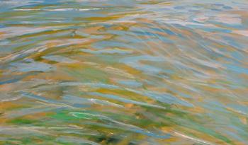 Farverig moderne maleri af vandspejl 2012 - billedkunstner Lars Stounberg