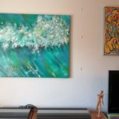 Farverig moderne havmalerier - Kraftig bølge Vesterhavet 2016 Kunstner Odder Lars Stounberg -