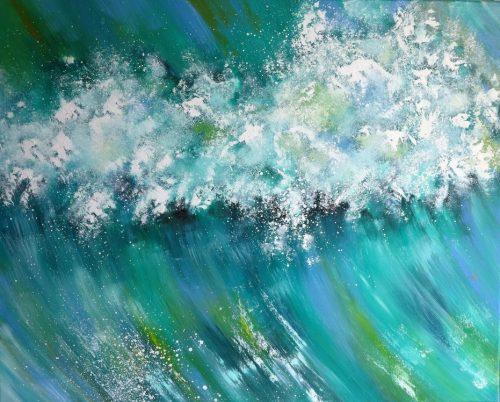 Moderne Havmalerier kraftig bølge Vesterhavet 2016 - Billedkunstner Odder Lars Stounberg