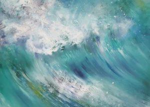 Moderne farverigt Havmaleri bølger havet af Billedkunstner Odder Lars Stounberg 2016