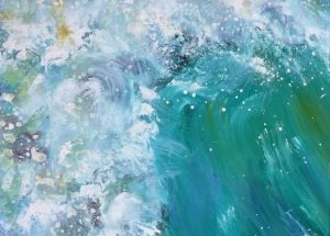 Moderne farverig havmaleri bølgetop Lars Stounberg 2016
