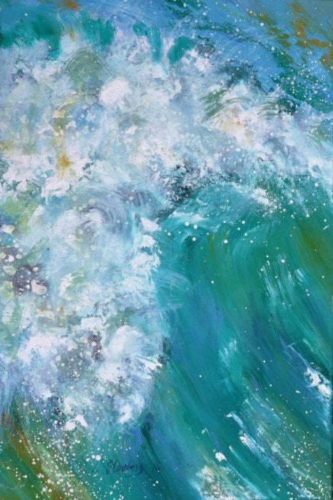Moderne farverig havmaleri bølgetop Kunstmaler Odder Lars Stounberg 2016