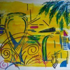 Titel: Palme akvarel 32 x 38 cm 2001 - Billedkunstner Odder Lars Stounberg