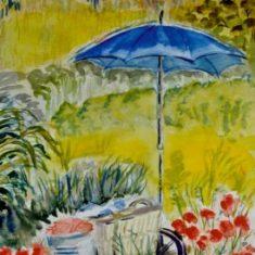 Titel: Paraply akvarel 42 x 33 cm 2001 - Billedkunstner Odder Lars Stounberg