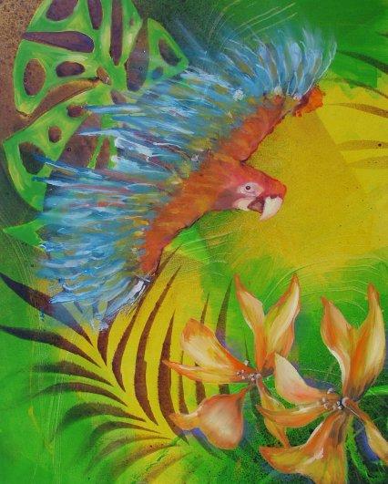 Moderne farverigt maleri - Papagøje 2011 - Billedkunstner Odder Lars Stounberg