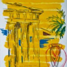 Titel: Parthenon akvarel 32 x 38 cm 2001 - Billedkunstner Odder Lars Stounberg