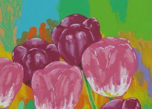 Farverigt moderne maleri - Mørkeroede og gule tulipaner foraar 2011 - Billedkunstner Odder Lars Stounberg
