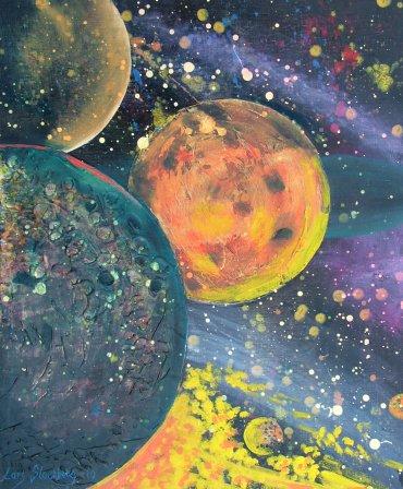 Farverigt moderne maleri - Planeter 2010 - Billedkunstner Odder Lars Stounberg
