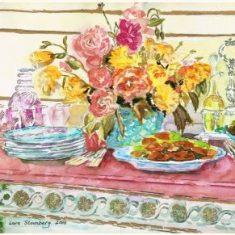 Titel: Platmenage akvarel 40 x 52 cm 2000 - Billedkunstner Odder Lars Stounberg