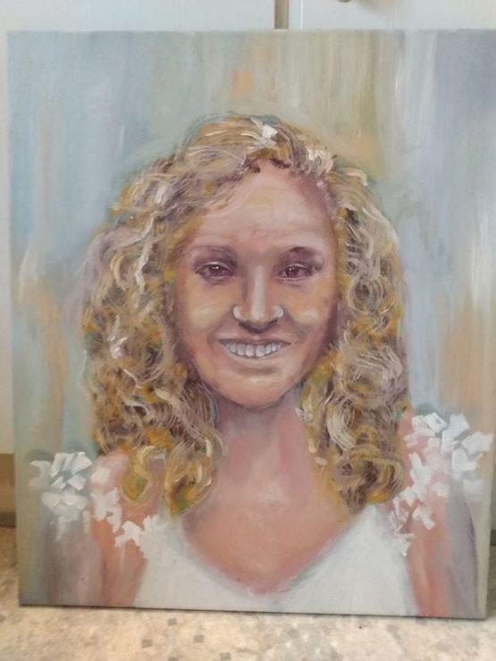 Portræt af hvid kvinde malet 2014 af Lars Stounberg