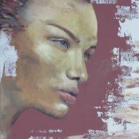 Farverig maleri Smuk kvinde 2014 Billedkunstner Odder Lars Stounberg