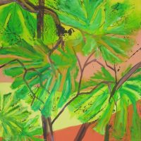 Farverig moderne maleri - Regnskov eksotisk 2015 - Kunstner Odder Lars Stounberg