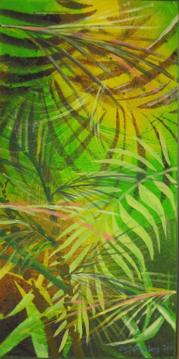 Farverig moderne maleri - regnskov palmeblade Kunstner Odder Lars Stounberg 2014