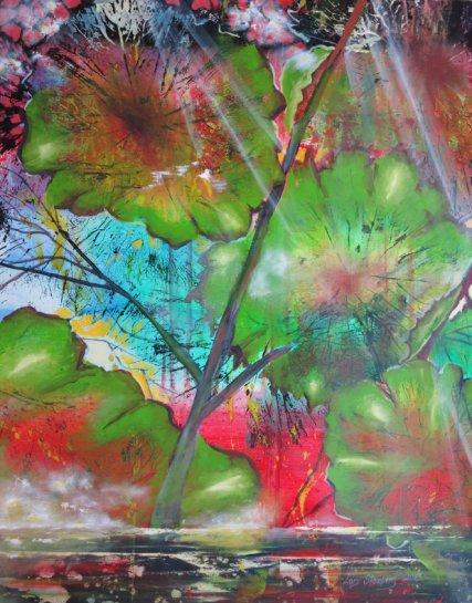 Regnskov natur maleri 2013 Billedkunstner Odder Lars Stounberg
