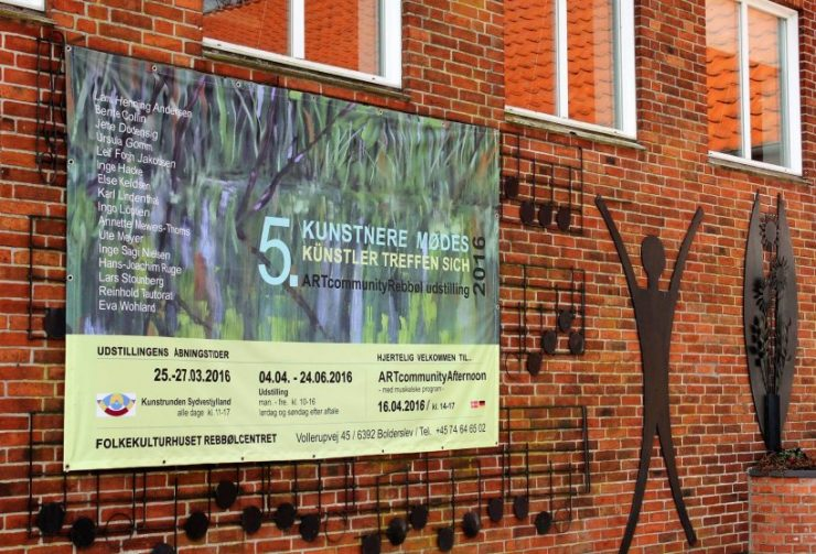 Plakat til udstilling i Rebbøl - Kunstnere mødes - Künstler treffen sich