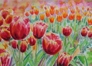 Farverig moderne akvarel - Tulipanbed Gavnoe Slot foraar 2007 - Billedkunstner Odder Lars Stounberg