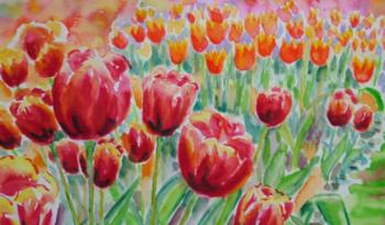 Farverig moderne Akvarel 2007 af Billedkunstner Odder Lars Stounberg med røde og orange tulipaner fra Gavnø