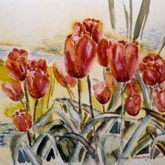 Titel: Rød tulipan akvarel 32 x 42 cm 2002 - Billedkunstner Odder Lars Stounberg