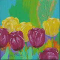 Farverigt moderne maleri - Moerkeroede og gule tulipaner 2011 - Billedkunstner Odder Lars Stounberg