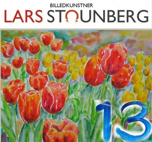 Akvarel med tulipaner - Julekalender 2017 - billedkunstner Lars Stounberg
