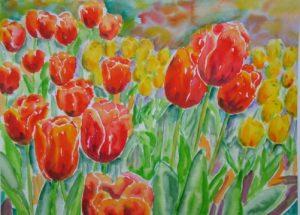 Farverig moderne akvarel - Roede og gule tulipaner Gavnoe Slot 2007 - Billedkunstner Odder Lars Stounberg