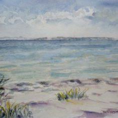 Titel: Rude Strand akvarel 42 x 50 cm 1994 Billedkunstner Odder Lars Stounberg