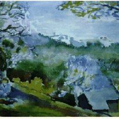 Titel: Schwarzwald akvarel 40 x 52 cm 1990 - Billedkunstner Odder Lars Stounberg