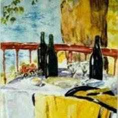 Titel: Sjal akvarel 33 x 42 cm 1999 - Billedkunstner Odder Lars Stounberg