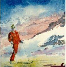 Titel: Ski akvarel 52 x 40 cm 1990 - Billedkunstner Odder Lars Stounberg