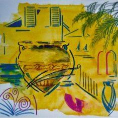 Titel: Smedejern akvarel 32 x 38 cm 2001 - Billedkunstner Odder Lars Stounberg