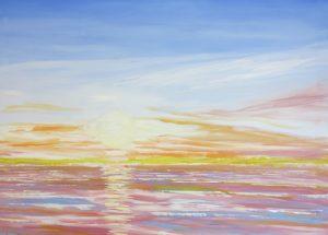 Farverig moderne havmaleri - Solopgang Saksild 2012 - Billedkunstner Odder Lars Stounberg