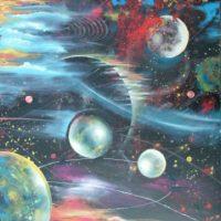 Farverigt moderne maleri - Kosmos planeter 2010 - Billedkunstner Odder Lars Stounberg