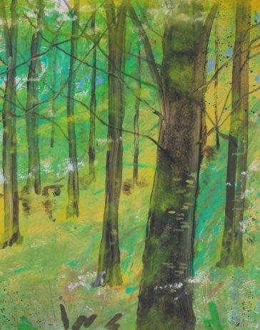 Udspring bøgeskov i maj maleri Billedkunstner Odder Lars Stounberg 2012