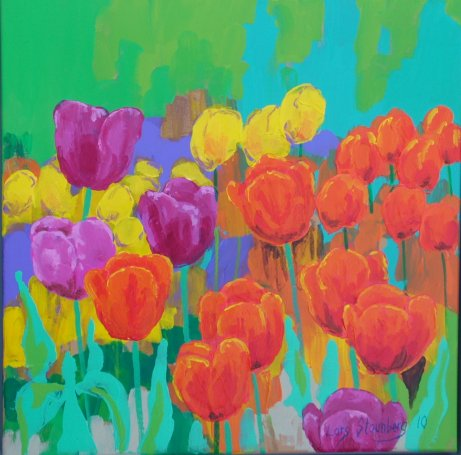 Farverigt maleri Foraar Tulipaner Gavnø Billedkunstner Odder Lars Stounberg 2010