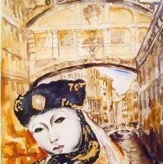 Titel: Sukbro Venedig akvarel 52 x 40 cm 2000 - Billedkunstner Odder Lars Stounberg