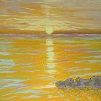 Havmaleri - Solopgang Ballehage Strand - Kunstner Odder Lars Stounberg