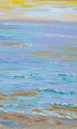 Maleri - Solopgang Holken Strand Odder 2 - Billedkunstner Odder Lars Stounberg 2006